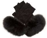 Yves Salomon Fur-trimmed fingerless wool-blend gloves