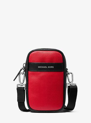 Michael Kors Greyson Color-Block Leather and Logo Smartphone Crossbody Bag - Blk/rc Rd