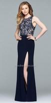 Faviana Applique Embellished Illusion Cutout Prom Dress