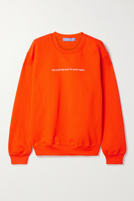 PARADISED Embroidered Cotton-blend Jersey Sweatshirt - Bright orange