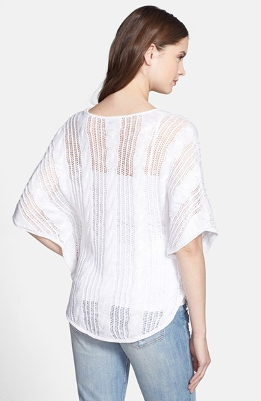 Lucky Brand Butterfly Sleeve Mix Knit Sweater
