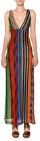 Missoni Plunging Twist-Back Multicolor Knit Maxi Dress