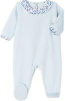 Petit Bateau Frilled-collar velour sleepsuit 3-24 months