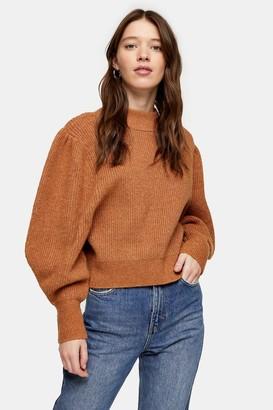 Topshop Camel Super Soft Volume Sleeve Sweater