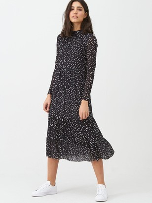Warehouse Spot Mesh Midi Dress - Black