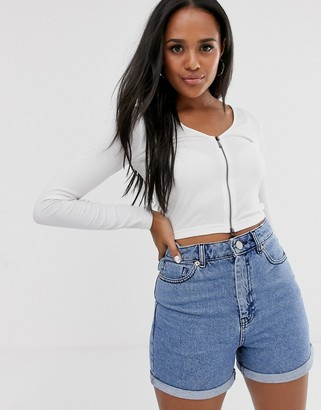 Asos Design DESIGN top in rib with full length zip with long sleeve-White