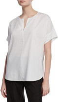 Eileen Fisher Slit-Neck Short-Sleeve Boxy Sandwash Tunic