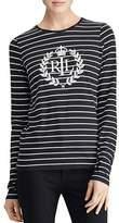 Lauren Ralph Lauren Flocked Logo Stripe Top