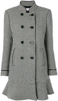 RED Valentino flared dogtooth double-breasted coat - women - Polyester/Acetate - 40