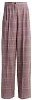 Natasha Zinko High-rise Wool-blend Tartan Trousers - Womens - Grey Multi