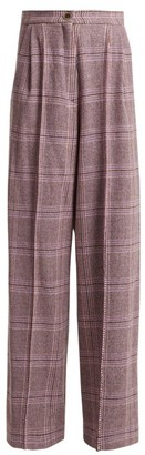Natasha Zinko High-rise Wool-blend Tartan Trousers - Womens - Grey Multi