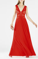 BCBGMAXAZRIA Evonne Lace-Blocked Pleated Gown
