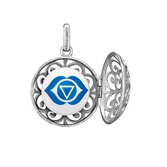 Engelsrufer Women's 925 Sterling Silver Turquoise Pendant with Four Changeable Sound Lenses Brow, Solarplexus, Sacral and Crown Chakra