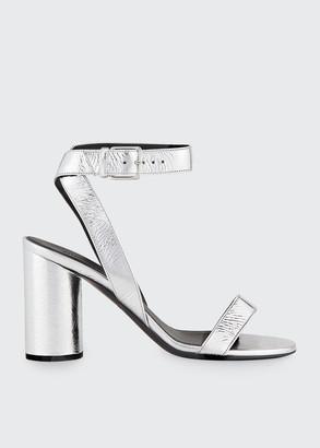 Balenciaga Oval Metallic Leather Ankle Sandals
