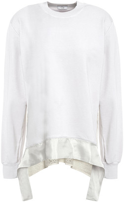 Clu Guipure Lace-paneled Melange French Cotton-blend Terry Sweatshirt