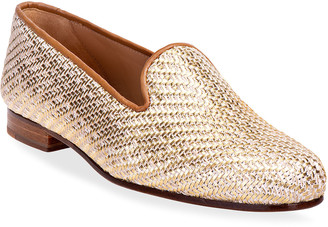 Stubbs And Wootton Metallic Woven Smoking Slipper Loafers
