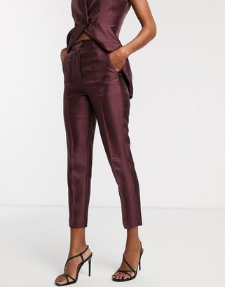 Asos Design DESIGN slim suit trousers in textured satin