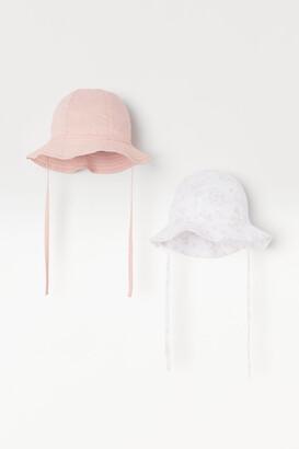 H&M 2-pack Cotton Sun Hats - Pink