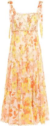 Zimmermann Primrose Floral-print Crinkled Cotton And Silk-blend Midi Dress