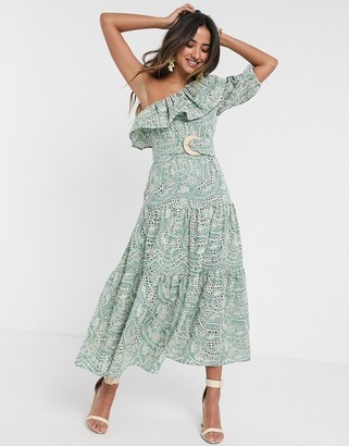 Asos DESIGN one shoulder broderie ruffle maxi dress with raffia belt in sage green