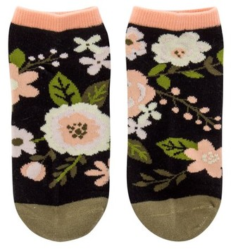 Karma Ankle Socks, Charcoal Flower