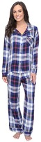 Plush Ultra Soft Long Sleeve Woven Plaid PJ Set Women's Pajama Sets