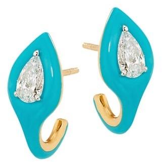 Etho Maria Diamonds In Color 18K Two-Tone Gold, Diamond & Blue Ceramic Earrings