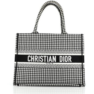 Christian Dior Book Tote Houndstooth Canvas Small