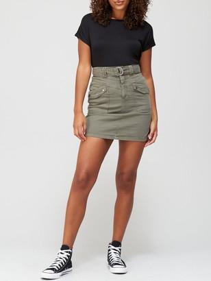 Very Belted Thigh Pocket Skirt - Khaki