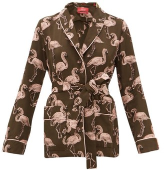 F.R.S For Restless Sleepers Armonia Flamingo Fil-coupe Belted Jacket - Pink Multi
