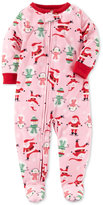 Carter's 1-Pc. Santa-Print Footed Fleece Pajamas, Baby Girls (0-24 months)