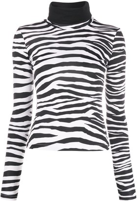 Just Cavalli Zebra-Print Roll Neck Sweatshirt