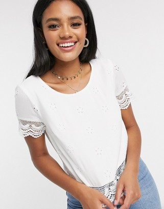 Hollister all over broderie top in white