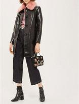 Topshop Faux-fur collar vinyl coat