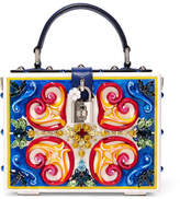 Dolce & Gabbana Dolce Embellished Leather-trimmed Painted Wood Clutch - Blue