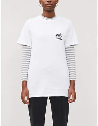 Stussy Rasta Lion brand-print cotton-jersey T-shirt