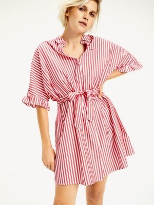 Tommy Hilfiger Frill Sleeve Stripe Shirt Dress