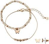 Lauren Conrad Butterfly Beaded Bracelet & Stud Earring Set