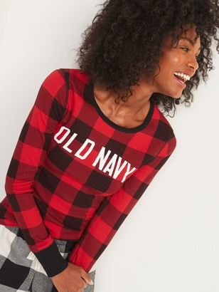 Old Navy Logo-Graphic Thermal-Knit Long-Sleeve Tee for Women