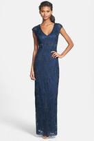Sue Wong Ribbon Yarn Cap Sleeve Gown