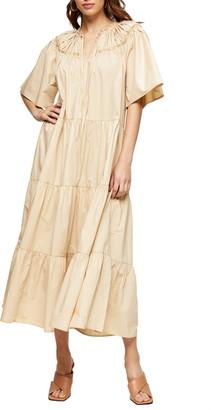 Topshop Smocked Poplin Midi Dress