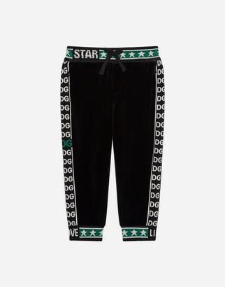 Dolce & Gabbana Chenille Jogging Pants With Jacquard Logo