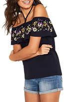 Oasis Embroidered Bardot Top, Navy