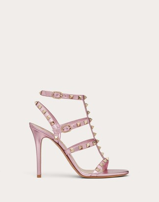 Valentino Rockstud Laminated Nappa Ankle Strap Sandal 100 Mm / 3.9 In. Women Light Pink Lambskin 100% 35