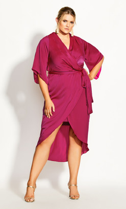 City Chic Opulent Wrap Dress - fuchsia