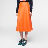 Paul Smith Women's Orange Leather A-Line Skirt