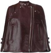 Givenchy short biker poncho - women - Calf Leather/Acetate/Viscose - 36