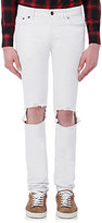 Saint Laurent Men's Distressed Skinny Jeans-WHITE