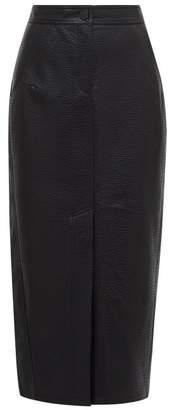 Vika Gazinskaya Front-slit Grained Faux-leather Midi Skirt - Womens - Black