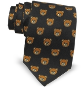Moschino Black Multi Teddy Bear Print Twill Silk Narrow Tie